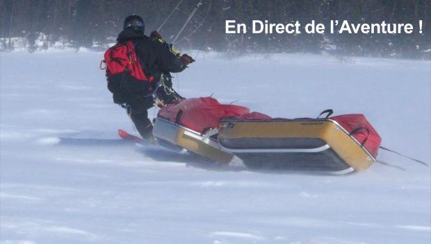 Ski tracté par cerf-voalnt, en expédition